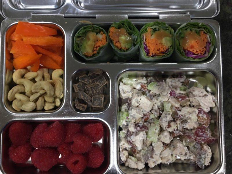 Portion-controlled lunch box with food
